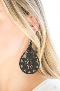 Flower Power - Black Earrings