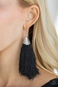 Tassel Temptress - Black Fringe Earrings