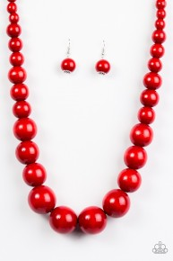 Effortlessly Everglades - Red Wooden Necklace