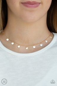 Chime A Little Brighter - Gold Choker Necklace