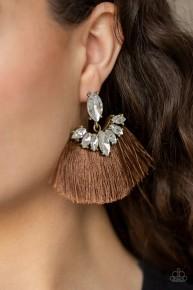 Formal Flair - Brown Fringe Earrings