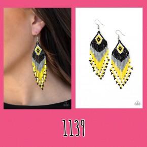Wind Blown Wanderer - Multi/Yellow Seed Bead Earrings