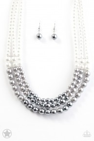 Lady In Waiting - Silver Pearl Blockbuster Necklace