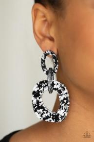 Confetti Congo - Silver/Black Acrylic Post Earrings
