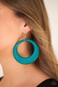 Modern Malibu Barbie - Blue Wood Hoop Earrings
