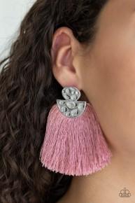 Make Some Plume - Pink  Fringe Post Earrings