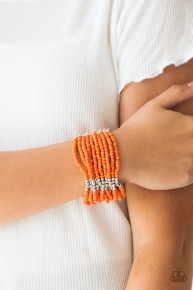Outback Odyssey - Orange Seed Bead Bracelet