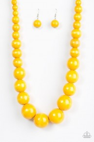 Effortlessly Everglades - Yellow Wooden Necklace