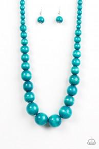 Effortlessly Everglades - Blue Wooden Necklace