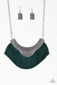 My Pharaoh Lady - Green Fringe Necklace
