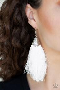 Tassel Temptress - White Earrings