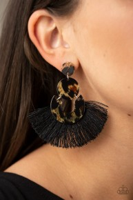 One Big Party Animal - Black Fringe Earrings