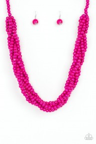 Tahiti Tropic - Pink Wooden Necklace