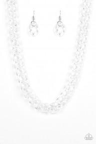 Put It On Ice - White Acrylic Necklace