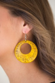 Beach Club Clubbin' - Yellow Wooden Earrings