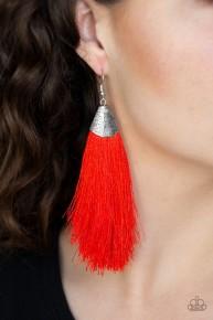 Tassel Temptress - Red Fringe Earrings