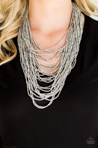 Dauntless Dazzle - Silver Seed Bead Necklace