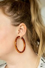 Miami Minimalist - Brown Acrylic Hoop Earrings