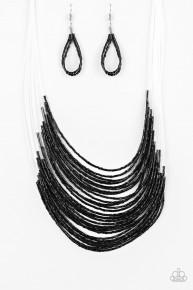 Catwalk Queen - Black Seed Bead Necklace