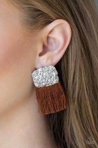 Plume Bloom - Brown Fringe Earrings