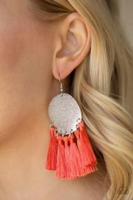 Tassel Tribute - Orange Fringe Earrings