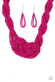 A Standing Ovation - Pink Seed Bead Necklace