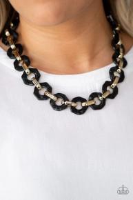 Fashionista Fever - Black Acrylic Necklace