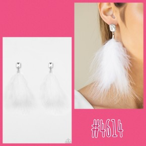 The SHOWGIRL Must Go On - White Post Feather Earrings