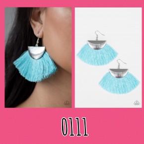 Fox Trap - Blue/Silver Fringe Earrings