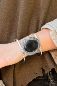 Lasting Landmark - Black Cuff Bracelet