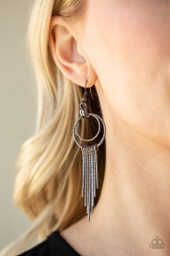 Eye-Catching Edge - Black Earrings
