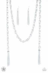 Scarfed For Attention - Silver Blockbuster Necklace