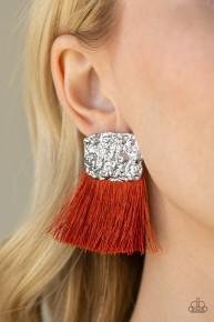 Plume Bloom - Orange Post Earrings