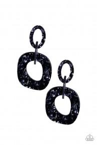 Confetti Congo - Blue Acrylic Earrings