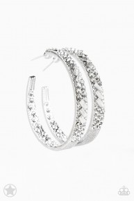 Glitzy By Association - White Blockbuster Earrings