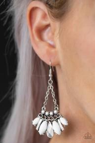 Sprinkle On The Sparkle - White Earrings