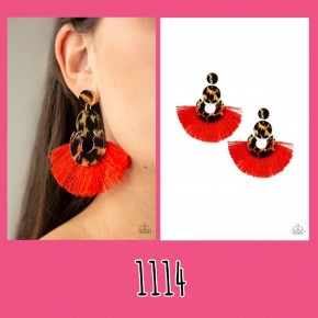 One Big Party Animal - Red Fringe Earrings