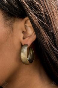 Calling All The Shots - Brass Hoop Earrings