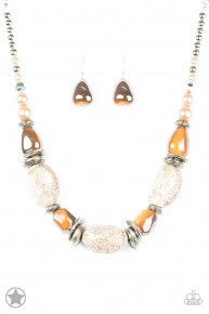 In Good Glazes - Peach/Brown Blockbuster Necklace