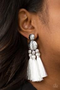 Taj Mahal Tourist - White Post Fringe Earrings