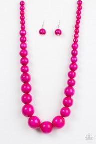 Effortlessly Everglades - Pink Wooden Necklace