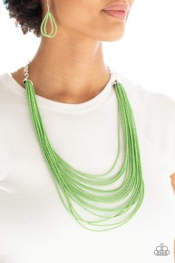 Peacefully Pacific - Green Seed Bead Necklace