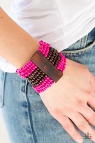 Jamaican Me Jam - Pink Wooden Bracelet