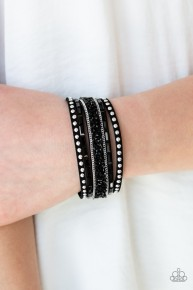 Rhinestone Rocker - Black Urban Bracelet