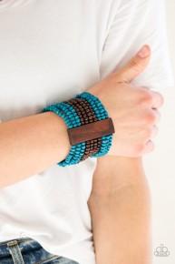 Jamaican Me Jam - Blue Wooden Bracelet