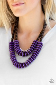 Dominican Disco - Purple Wooden Necklace