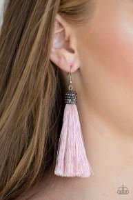 Make Room For Plume - Pink Fringe Earrings