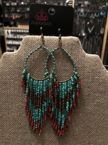 Live Off The Badlands - Blue Seed Bead Earrings