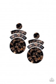In The Haute Seat - Black/Brown Acrylic Earrings