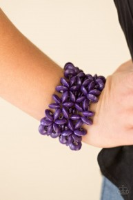 Hawaiian Haven - Purple Wooden Bracelet